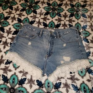Free People Lace Denim Shorts size Waist 27